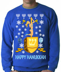 hanukkah clothing happy hanukkah on a dreidel crewneck sweatshirt