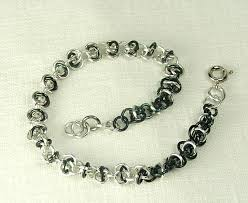 handmade chain bracelet images Chain maille bracelet black and silver color tiny delicate jewelry JPG