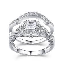 Sterling Silver Wedding Rings by Princess Cut Gemstone 925 Sterling Silver Engagement Ring