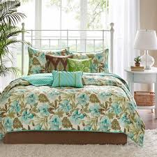 Teal Coverlet Shop Madison Park Martinique Teal U0026 Brown Bed Covers The Home