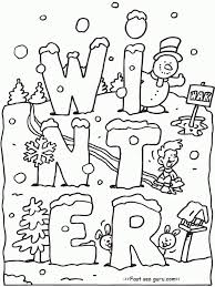 free printable winter coloring pages snow sled kids intended