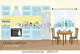 Modern Kitchen Interior Kitchen Interior Table Stove Cupboard Dishes Stock Vector