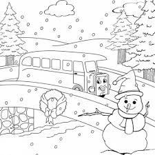 thomas the train winter coloring pages for kids free cartoon