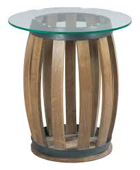Teal Accent Table Rustic Wine Barrel Accent Table With Tempered Glass Top By Kincaid