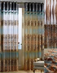 blue and coffee gauze sheer curtain for living room