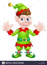 an illustration of a cute happy cartoon christmas elf or one of