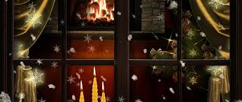 download wallpaper 2560x1080 window fireplace candles christmas