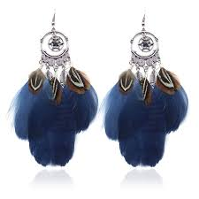 peacock feather earrings s drop earring exaggerated dreamcatcher feather earrings retro