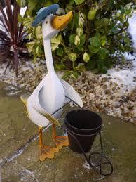 distressed metal duck flower herb pot planter patio sculpture
