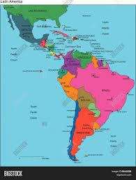 Different Countries And Their Flags A Map Of South America And All Countries With Their Flags Shaped At Latin Jpg