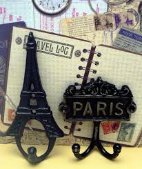 Cast Iron Home Decor Eiffel Tower Paris Cast Iron Pair Wall Hooks Black French Shabby