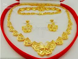 gold set upscale bridal jewelry set delicate butterfly high imitation gold