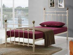 3ft single jules ivory white metal bed frame with heart design