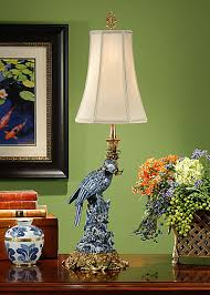 Candlestick Buffet Lamps by Wildwood Lamps 9114 Blue Parrot Lamp Porcelain Candlestick Buffet