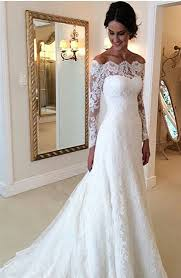 custom made wedding dresses white the shoulder lace sleeve bridal gowns cheap simple
