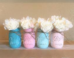 jar baby shower centerpieces pink and teal distressed jar centerpieces ombre
