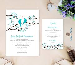 cheap wedding invitation sets turquoise wedding invitation and info card bird wedding