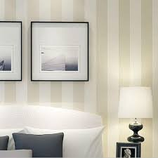 10m roll modern simple style beige white grey striped wallpaper