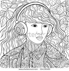 coloring book listen beautiful fashion abstract hair earphones stock vector