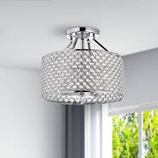 Great Chandeliers Com Chrome Crystal 4 Light Round Ceiling Chandelier Amazon Com