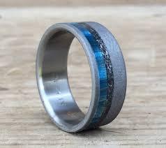meteorite mens wedding band mens titanium wedding band mens meteorite ring blue box