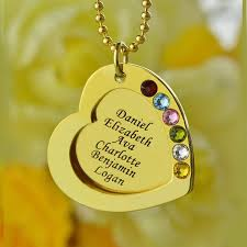 Kids Name Necklaces Hand Stamped Heart Birthstones Necklace Silver Engraved Name