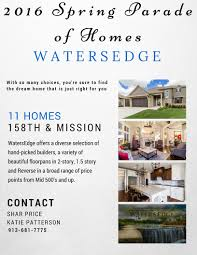 11 homes on the spring parade of homes at watersedge in overland