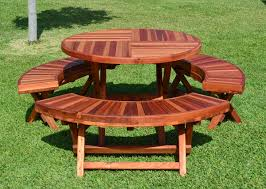Folding Wood Picnic Table Plans by Round Wood Folding Picnic Table With Curved Benches Forever Redwood