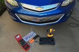 Front Vanity Plates Drilling Holes For A License Plate 2016 Chevrolet Volt