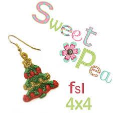 christmas tree fsl earrings ith in the 4x4 hoop sweet pea