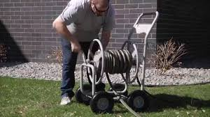 strongway garden hose reel cart holds 400ft x 5 8in hose youtube