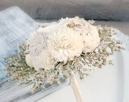 rustic vintage wedding bouquet dried flowers ivory cream
