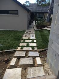 canberra native plants front yard steps stepping stone path stone letter box grass