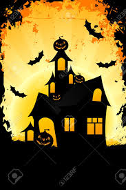 halloween background with haunted house pumpkin in grass bats