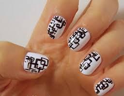 23 nail designs with black and white nail polish white