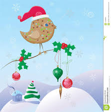 christmas scene with a bird and ornaments stock photos image