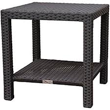 rattan side table outdoor amazon com banta outdoor wicker side table multibrown kitchen