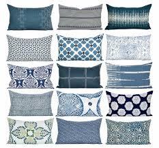 bungalow blue interiors home blue white lumbar pillow