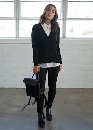 black sweater with white collar collared sweater one mickey s