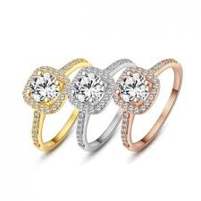 zircon engagement rings encrusted swiss zircon 18k gold plated ring