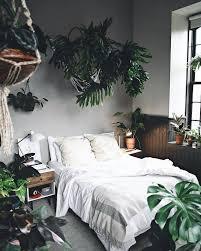 plante verte dans une chambre décoration nature chambre lit draps housse de couette blanche mur