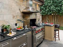 building an outdoor kitchen with wood bright and blue with