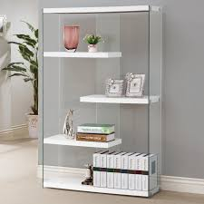 bookcase white wood ideas coaster white glass bookcase steal on laminate wood