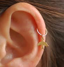 small hoop earrings for cartilage hoop tiny bird gold hoop cartilage earring tiny leaf gold hoop