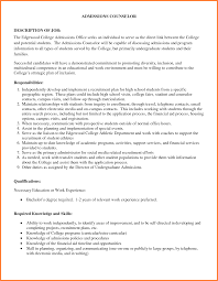 college admissions counselor job description admissions counselor