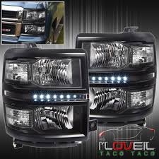 led lights for 2015 silverado black housing led head lights l turn clear corners 2014 2015