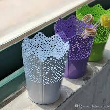 Wholesale Flower Vase Hollowed Out Design Iron Flower Pot High Quality Candy Color Vase