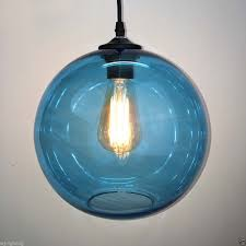Blue Glass Pendant Light Blue Glass Clear Lshade Ceiling Vintage Retro Chandelier