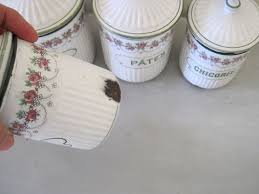 antique enamel set of 6 kitchen canisters by bb of austria for the
