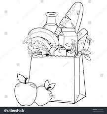 bag groceries coloring book page stock vector 577915696 shutterstock